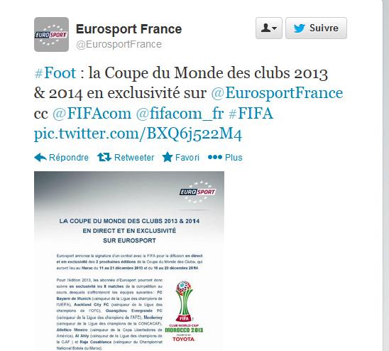 Programme eurosport 2 france - Programme coupe du monde des clubs 2014 ...