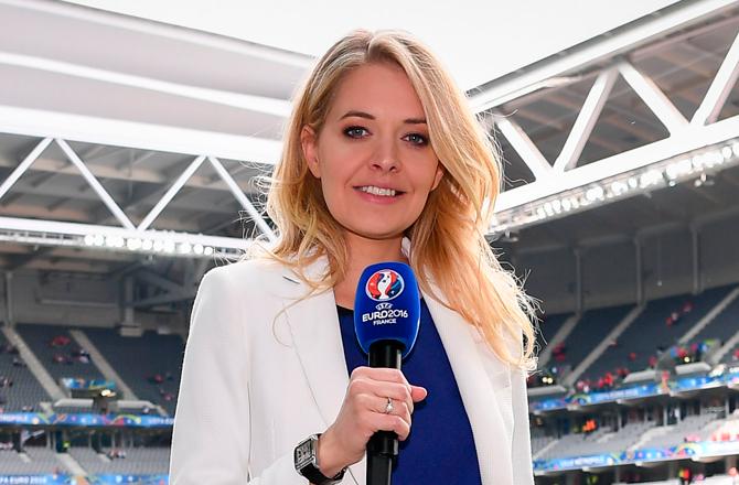 Carine Galli lors de l'Euro 2016 sur M6